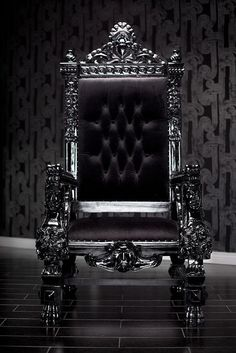 My Throne - 4061 Black Lacquer Baroque Throne Chair  by Diva Rocker Glam