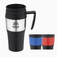 Mug, 14 oz. double wall plastic constructed with stainless steel band. Durable handle. Plastic lid with thumb-slide closure.