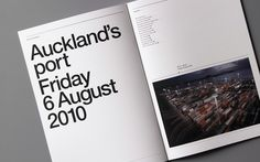 An annual report for Ports of Auckland. Ports of Auckland were interested in conveying to Auckland the importance of their port in such a prime location on the waterfront. We displayedthe numerous activities that take place in a common day to convey a sense of dynamic movement and urgency that helps sustain the Auckland market…