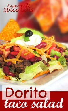 Taco Dorito Salad on MyRecipeMagic.com #taco #salad #dorito