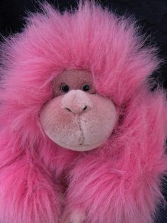 Aurora Pink Monkey Gorilla Plush Soft Toy Stuffed Animal Squeals Makes Noise #Aurora