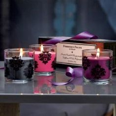 Forbidden Fruits Scented Candle Trio in Plum Pleasure, Fig Fatale and Passion Fruit :o)