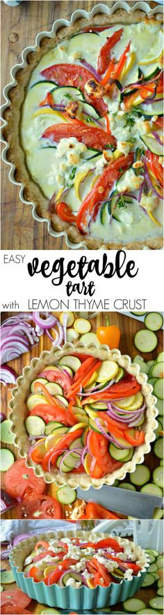 This Easy Vegetable Tart has a buttery lemon thyme crust and comes together SO simply with just a little bit of knife work. Perfect for breakfast, brunch, or a side dish!