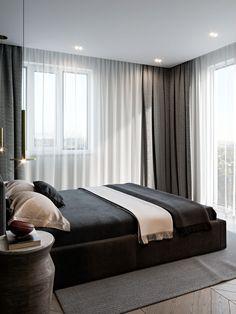 Interior design of apartment. Modern apartment with classic elements. Apartment Design, Bedroom Apartment, Home Decor Bedroom, Modern Bedroom, Bedroom Furniture, Loft Design, Küchen Design, House Design, Contemporary Home Decor