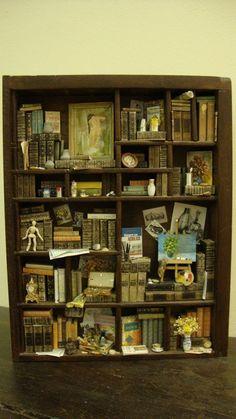 Letterbak - Wandbord - Vitrinekast *Shadow Box - Configuration Box  ~Thema: Bibliotheek - Artiest *Library - Artist~