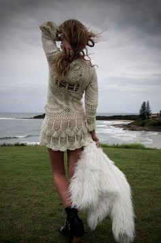 Crochet, fur & boots. Edgy bohemian chic for fall.