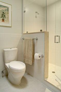 26 Super Ideas For Bathroom Design Small Diy Half Walls Modern Small Bathrooms, Modern Bathroom Design, Bathroom Interior Design, Amazing Bathrooms, Luxury Bathrooms, Bathroom Designs, Narrow Bathroom, Interior Ideas, Modern Interior