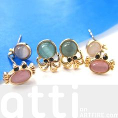 $9.99 Small Crab Squid Sea Animal Stud Earring 6 Piece Set with Gemstones