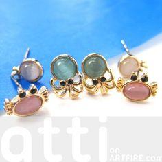 $9.99 Small Crab Squid Sea Animal Stud Earring 6 Piece Set with Gemstones