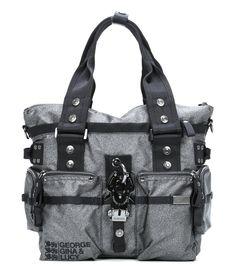 wardow.com - #gglworld, George Gina & Lucy, Nylon 6ix Handtasche grau 38 cm