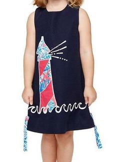 Lilly Pulitzer Little Lilly Classic Shift Dress in True Navy Lights On