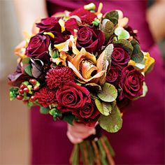 Brides: Red Rose and Dahlia Wedding Bouquet. The bridesmaids carried bouquets of dahlias, roses, orchids, chocolate cosmos, and snowberries. All floral design by Still Life Fine Event Design. Dahlia Wedding Bouquets, Fall Bouquets, Bride Bouquets, Bridesmaid Bouquet, Maroon Wedding, Burgundy Wedding, Fall Wedding, Cranberry Wedding, October Wedding