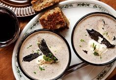 Portobello mushroom soup with blue cheese toasties recipe, Viva – A lovely mushroom soup with an extra flavour hit with the addition of blue cheese toasties on the side - Eat Well (formerly Bite) Steak And Mushrooms, Roasted Mushrooms, Stuffed Mushrooms, Stuffed Peppers, Oven Baked Risotto, Cheese Toasties, Vegetarian Recipes, Cooking Recipes, Pie Recipes