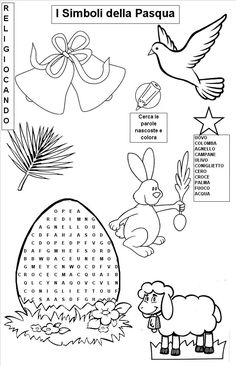 Simboli pasquali-simboli della pasqua Coloring Sheets, Coloring Pages, Sunday School Activities, Lent, Craft Supplies, Diagram, Coding, Kids Rugs, Easter