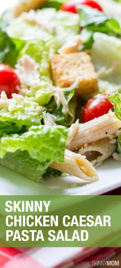 Need a light and healthy meal to feed your family?  Check out this skinny chicken caesar pasta salad.