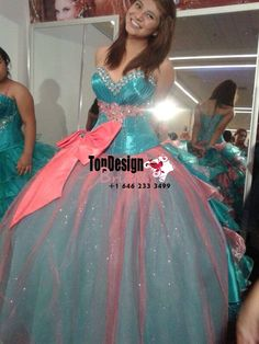 2017 New Beaded Sweet 15 Ball Gown Turquoise and Coral Satin Tulle Prom Dress Gown Vestidos De 15 Anos with Bowknot