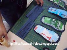 Como  reciclar caixa de leite - 2 - Chinelinho de quarto