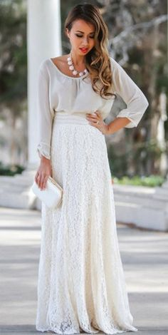 Fashion trends | Grey sheer top, lace maxi skirt, clutch, necklace