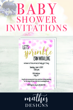 Baby shower invitations designed by Mathis Designs. Perfect Baby Girl Shower Invitations. Pink and Gold Baby Girl Shower Invitations