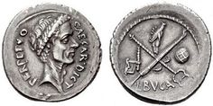 Denario C. Iulius Caesar / L. Aemilius Buca   D   Testa laureata di Giulio Cesare a destra.  Legenda: CAESAR DICT - PERPETVO   R   Caduceo alato e fascio senza scure incrociati; a sinistra un'ascia; a destra il globo; in alto due mani congiunte.  Legenda: L. BVCA   Ag   Ø  18-21 mm   3,28-4,19 g   44 a.C.