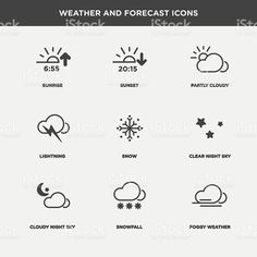 Vector graphic  icon set of weather and forecast royalty-free stock vector art