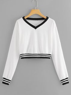 Shop V Neck Striped Sweatshirt online. SHEIN offers V Neck Striped Sweatshirt & more to fit your fashionable needs. Girls Fashion Clothes, Teen Fashion Outfits, Outfits For Teens, Crop Top Outfits, Cute Casual Outfits, Mode Kawaii, Crop Top Hoodie, Mein Style, Cute Crop Tops