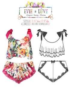 DIGITAL Lingerie Sewing Pattern - Sophia Cami & Camille French Knickers - pdf instant download from EVIE la LUVE by EvielaLuveDIY on Etsy https://www.etsy.com/au/listing/269337231/digital-lingerie-sewing-pattern-sophia