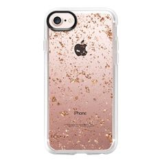 Rose Gold Splatter - iPhone 7 Case And Cover ($40) ❤ liked on Polyvore featuring accessories, tech accessories, iphone case, iphone cover case, apple iphone case, rose gold iphone case, clear iphone case and iphone cases