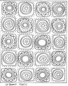 Rug Hooking Paper Pattern 20 Blooms Abstract Folk Art Karla G Doodles Zentangles, Doodle Patterns, Zentangle Patterns, Art Patterns, Flower Patterns, Folk Embroidery, Embroidery Patterns, Paper Embroidery, Doodle Drawings