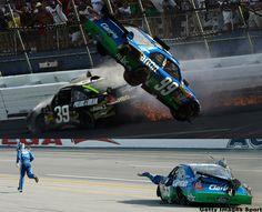 NASCAR: Carl Edwards grabs some air.