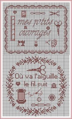 And since we are between embroiderers, she does not forget you with the diagrams of circumstance to decorate boxes, pockets or other necessary embroidery. Cross Stitch Borders, Cross Stitch Samplers, Cross Stitch Charts, Cross Stitch Designs, Cross Stitching, Cross Stitch Embroidery, Cross Stitch Patterns, Alphabet, Hand Embroidery Patterns