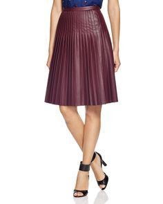Rebecca Taylor Women's Oxblood Faux Leather Pleated Skirt