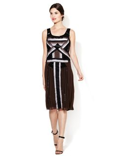 Silk Sparrow V-Neck Tie Dress by Carolina Herrera at Gilt