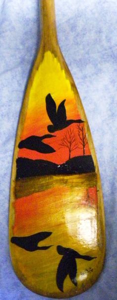 "Sunset on 36"" canoe paddle  Hand Painted by Doug Wilkie  www.aframestudios.ca Canoe Paddles, Wood Crafts, Diy Crafts, Pallet Walls, Vintage Fishing, What To Make, Pinot Noir, Cabin Ideas, Woodworking Shop"