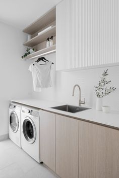 Modern Laundry Rooms, Laundry Room Layouts, Laundry Room Remodel, Laundry Room Organization, Laundry In Bathroom, Laundry Shelves, Open Shelves, Laundry Cupboard, White Laundry Rooms