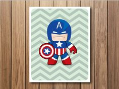Cute superhero 8X10 poster  Captain America by cutejungle on Etsy, $8.00