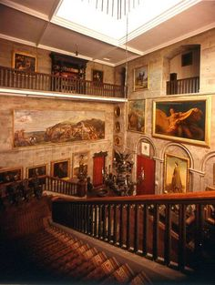 Eastnor_castle_frescos. stairway Eastnor Castle, Royal Society, Herefordshire, Fortress 2, Amazing Race, Banisters, Grand Staircase, Cathedrals, Stairway