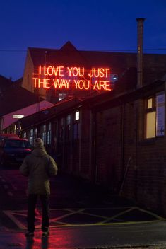 This installation put love quotes from great songs in giant, neon letters. 12 MONTHS OF NEON LOVE The Way You Are, Love You, My Love, Neon Quotes, Love Quotes, Love Letras, Neon Licht, Neon Words, My Sun And Stars