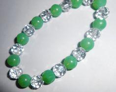Glass Peridot Matte And Crystal Bracelet by AvaJuliannaDesigns, $14.00