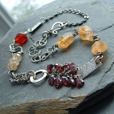 Necklace Sterling silver Short Red and gold Gemstone Wire Wrapped Mixed