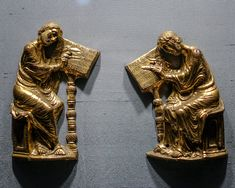Evangelists Mark and Luke, French, ca. Gilded copper and glass The Cloisters, Medieval Art, Art Museum, Lion Sculpture, Copper, Statue, French, Glass, French People