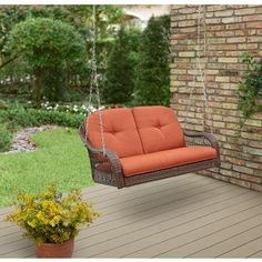 Wicker Outdoor Porch Swing Hanging 2 Person Durable Cushions Patio BackYard Deck in Home & Garden, Yard, Garden & Outdoor Living, Patio & Garden Furniture Porch Swing Cushions, Wicker Porch Swing, Outdoor Patio Swing, Outdoor Decor, Porch Swings, Swing Chairs, Outdoor Areas, Outdoor Seating, Chair Cushions