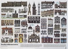 David Gentleman Everyday [English] Architecture in Towns Glasgow Architecture, English Architecture, David Gentleman, English Artists, British Artists, Glasgow School Of Art, Royal College Of Art, Poster Layout, Wood Engraving
