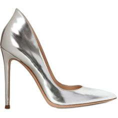 GIANVITO ROSSI 110mm Mirror Leather Pumps - Silver ($529) ❤ liked on Polyvore featuring shoes, pumps, heels, zapatos, обувь, silver, leather sole shoes, gianvito rossi pumps, silver shoes and silver heel pumps