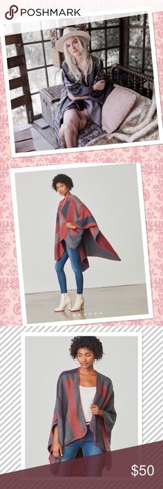 """🆕BB Dakota Poncho Behold the power of the poncho cardigan!! Think of it as a super cute and comfy superhero cape. It features a reversible stripe pattern and blanket stitch trim. Poncho dimensions are 59"""" x 50"""".  🌟Out of stock , sold out online! 🌟  Fabric Content: 65% Acrylic, 35% Polyester Care Instructions: Dry clean or hand wash cold, dry flat Color: Mulberry BB Dakota Sweaters Shrugs & Ponchos"""