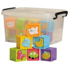 Baby+Soft+Blocks+-+Have+fun+stacking+with+these+Baby+Soft+Blocks!+This+set+includes+18+chunky,+soft,+vinyl+blocks+and+a+storage+tub+to+keep+them+safe+when+they+are+put+away.+-+$49.99