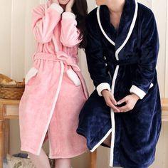 Peignoir hiver rose et bleu pour couple Blue Bedroom, Fur Fashion, Well Dressed, Blue Dresses, Dressing, Lingerie, Colour, Coat, How To Wear