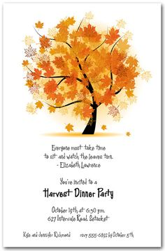 Autumn Maple Tree Invitations are perfect for any autumn or fall...