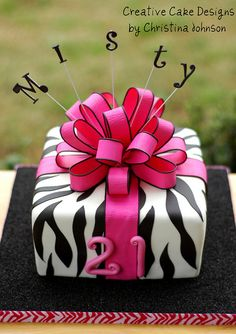 21st Birthday Zebra Present cake by Christinas Dessertery, via Flickr