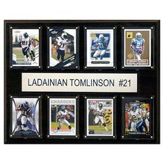 C and I Collectables NFL 15W x 12H in. LaDainian Tomlinson San Diego Chargers 8 Card Plaque - 1215TOMLIN8C